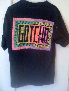 'Gotcha' Vintage surf, skate T shirt from late 80s. Stussy.