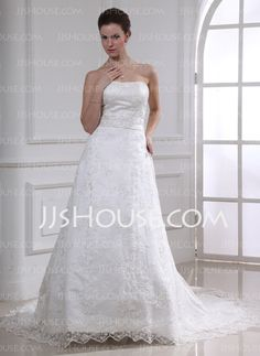 Wedding Dresses - $188.00 - A-Line/Princess Sweetheart Chapel Train Satin Lace Wedding Dress With Beadwork (002000185) http://jjshouse.com/A-Line-Princess-Sweetheart-Chapel-Train-Satin-Lace-Wedding-Dress-With-Beadwork-002000185-g185