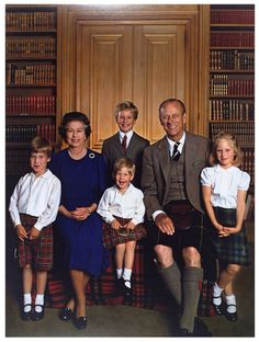 The Queen and Prince Philip with their grandchildren, Prince William, Prince Harry, Peter and Zara Phillips.