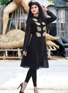 Gracious Black Georgette Indian Designer Kurti At Best Rates By Uttamvastra
