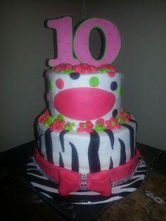 ZEBRA AND DOTS Girl birthday cake