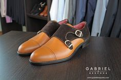 Gabriel Bespoke Double Monk leather & velvet shoes!  #doublemonk #leather #velvet #shoes Shuffle Board, Velvet Shoes, Tailored Suits, Haberdashery, Gabriel, Bespoke, Oxford Shoes, Dress Shoes, Best Deals