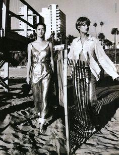 """Pure Style"", ELLE US, February 1994Photographer: Gilles BensimonModels: Jenny Shimizu and Manon von Gerkan"