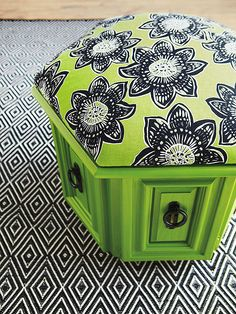 Before-and-After Furniture Makeovers - Thrift stores and garage sales are ripe with budget-friendly finds, but often what you score secondhand needs a little TLC. Take a look at how we transformed common thrift store finds into wow-worthy furnishings. After: Thoroughly Modern Pouf