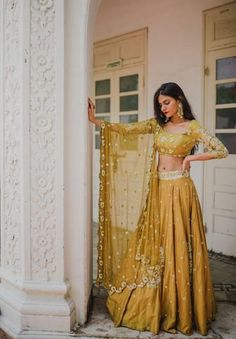 Pleats Mumbai Has The Best Lehengas Fo.- Love this mustard lehenga set by Pleats Mumbai - Indian Bridal Wear, Indian Wedding Outfits, Indian Outfits Modern, Indian Fashion Modern, Indian Wedding Sari, Indian Attire, Indian Ethnic Wear, Ethnic Suit, Dress Indian Style