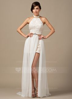 A-Line/Princess Halter Court Train Chiffon Lace Wedding Dress With Beading (002064254)