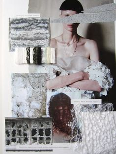 "Fashion Moodboard ""Neglect"" weathered surfaces theme - fashion design development process // Lois Albinson"