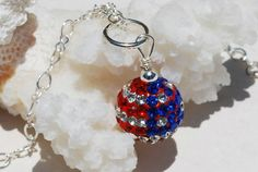 American Flag Necklace Patriotic Crystal Ball by ornatetreasures, $32.00