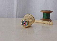 Vintage Marino Glass Brass Thimble Vintage Sewing Room Thimble