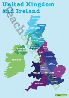 Teaching Resource: A map puzzle containing basic locations to introduce students to the regions of the United Kingdom and Ireland. Map Puzzle, Teaching Geography, West Yorkshire, West Midlands, Scotland Travel, Northern Ireland, London England, Lesson Plans, Teaching Resources