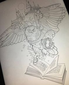 Sketch of owl tattoo with magic wand and book.- Sketch of an owl tattoo with a magic wand and a book on Hogwarts background. Harry Potter Sketch, Theme Harry Potter, Harry Potter Drawings, Harry Potter Room, Harry Potter Cast, Backpiece Tattoo, Hp Tattoo, Body Art Tattoos, Tattoo Drawings