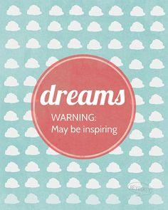 Dreams  Wall Art Home Decor Clouds Sky Blue Vintage by heygokey, $16.00