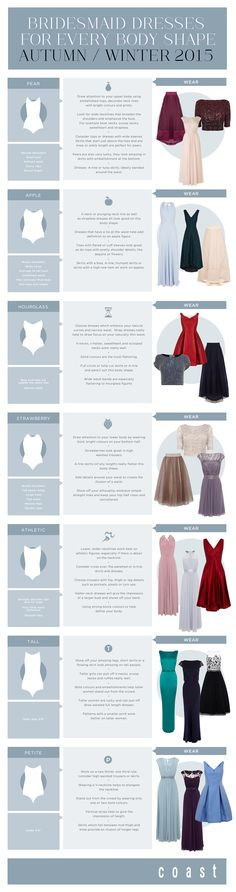 Such a handy guide for how to choose a bridesmaid dress for your shape, from @Coast | Bridal Musings Wedding Blog