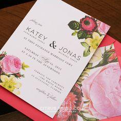 Rose Blush Pink Garden Wedding Invitations by CitrusPressCo
