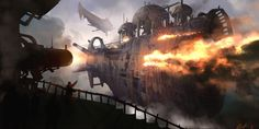 Steampunk pirates attack a hapless merchant ship in the sky! Illustration by Igor Vitkovskiy, http://m-e-f.cgsociety.org/art/pirates-photoshop-steampunk-battle-ships-gun-concept-art-sky-igor-vitkovskiy-needs-your-money-2d-994393