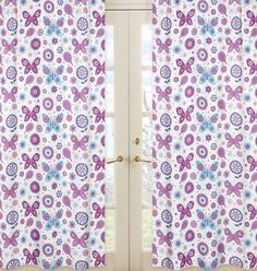 These are sure to complete the look of your #garden #themed room. They will instantly change the mood of any room, adding layers of warmth and style, each panel measures 42in. X 84in. #Butterfly #Floral #Curtains for Girls | Purple and Turquoise Room Decor by Sweet Jojo Designs