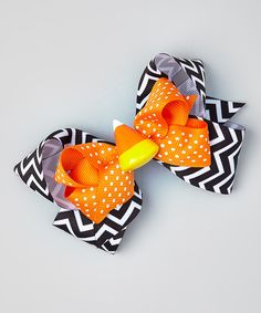 Look at this #zulilyfind! The Bow Lady Orange Dotted Black Chevron Candy Corn Hair Clip by The Bow Lady #zulilyfinds