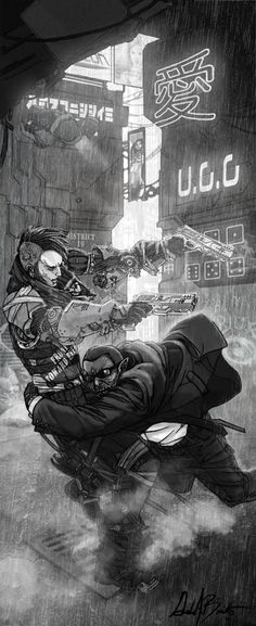 illustration in Shadowrun Dirty Tricks by Gordon Bennetto (django red)