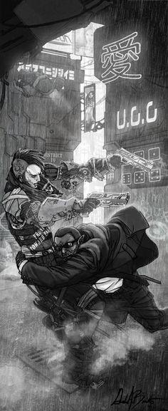 illustration in Shadowrun Dirty Tricks by Gordon Bennetto (django red)