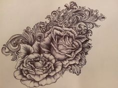 Victorian scrollwork & roses tattoo