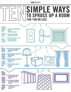 10 Simple ways to spruce up a room for $100 or less from HGTV's The Property Brothers, Jonathan & Drew Scott #infographic #howto