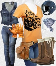 Denim Cruiser Biker Look featuring women's protective motorcycle jeans, holster style bag, chopper t-shirt, vest, helmet, gloves, boots and head scarf.
