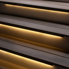 Odyssey LED Strip Light by Aurora Deck Lighting - DecksDirect Deck Step Lights, Solar Deck Lights, Solar Led Lights Outdoor, Led Stair Lights, Wall Lights, Outdoor Stair Lighting, Strip Lighting, Modern Deck Lighting, Deck Steps