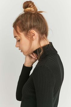 Urban Outfitters Cropped Black Ribbed Turtleneck Jumper