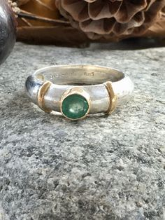 Handcrafted Vintage Sterling Silver and 14 Kt Gold Emerald Ring Modernist Design SZ Band Ring Artisan Ring Solitaire Green Emerald Sterling Silver Layered Necklace, Layered Necklaces Silver, Sterling Silver Jewelry, Mens Band Rings, Rings For Men, Vintage Rings, Vintage Jewelry, Emerald Ring Gold, Southwest Jewelry
