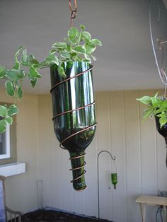 Recycled Wine Bottle Hanging Planter.