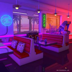 Denny Busyet Dreamlike artwork inspired by / aesthetic nostalgia fueled by synthwave retrowave and vaporwave style. Diner Aesthetic, Purple Aesthetic, Aesthetic Art, Aesthetic Pictures, Aesthetic Backgrounds, Aesthetic Wallpapers, Vaporwave Art, Purple Rooms, Retro Waves