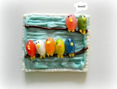 Birds on a Wire Graham Cracker Cookies made with jelly beans and blue and white candy melts.