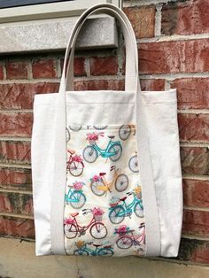 The Perfect Tote-Canvas Cotton Tote Bag-Bicycle Tote Bag-Market Bag-Tot., The Perfect Tote-Canvas Cotton Tote Bag-Bicycle Tote Bag-Market Bag-Tote Bag with Pocket-Totebag-Tote Purse-Canvas Purse-Canvas Bag The Perfe. Canvas Purse, Canvas Tote Bags, Canvas Totes, Tote Bag With Pockets, Tote Pattern, Bag Patterns, Patchwork Bags, Denim Bag, Tiffany Jewelry