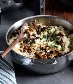 Mushroom and Fennel Risotto with Parmesan | In this vegetarian recipe you begin by cooking finely diced fennel, which infuses the risotto with its subtle anise flavor.