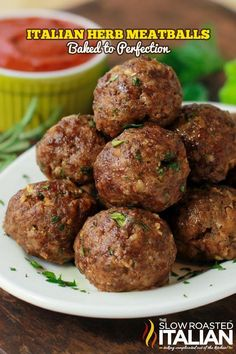 Italian Herb Baked Meatballs are the perfect recipe to learn how to make meatbal., Italian Herb Baked Meatballs are the perfect recipe to learn how to make meatballs the right way. Our baked meatballs are beautifully browned on the o. Baked Meatball Recipe, Meatball Bake, Meatball Recipes, Meat Recipes, Cooking Recipes, Oven Recipes, Delicious Recipes, Meatball Soup, Simple Recipes