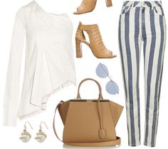 Fresh Style For Women Effortless style in striped jeans and One-shoulder stretch-cotton twill shirt
