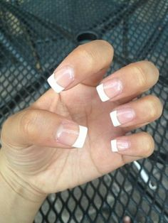 short french tip acrylic nails - Google Search