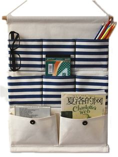 Moolecole New Blue Stripes Cotton/Linen Fabric Wall Hanging Organizer Bag 8-Pockets Door Hanging Storage Bag Hanging Shelves: Amazon.co.uk: Baby Hanging Organizer, Hanging Storage, Hanging Shelves, Door Storage, Bag Storage, Car Boot Sale, Hanging Furniture, Organize Fabric, Fabric Stamping