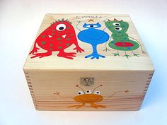 Large personalised memory box, Hand-painted keepsake box, Monster memory box, Children's wooden trinket box with monster / alien design. Painted Boxes, Wooden Boxes, Hand Painted, Personalised Memory Box, Alien Design, Cigar Boxes, Toy Boxes, Keepsake Boxes, Trinket Boxes
