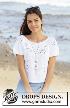 Diy Crafts - Ravelry: Spring Melt Top pattern by DROPS design Drops Design, Sweater Knitting Patterns, Lace Knitting, Knit Crochet, Knit Cowl, Crochet Granny, Hand Crochet, Lace Patterns, Crochet Patterns