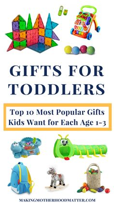 Buying the perfect gift for toddler's can be tricky because at this age, children's interests change so quickly. However, this complete gift guide selects the top 10 gifts toddlers want, broken down by each age (one to three-years-old), which makes it easy to buy a gift your toddler will love. As a mom of two toddlers, I am excited to share Gifts for Toddlers 1-3: 10 Popular Gifts Kids Want per Age. Visit www.makingmotherhoodmatter.com or click the link to discover each carefully selected…
