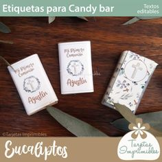 etiquetas-para-candy-bar-comunion y confirmación de nene Candy Bar Comunion, Place Cards, Gift Wrapping, Place Card Holders, Gifts, Chocolate Coins, Printable Cards, First Holy Communion, Sachets
