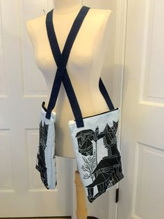 """Custom fabric / an exculsive artist picture messanger bag 11 x 14"""" with 44"""" handle by GeeGeeGoGo on Etsy"""