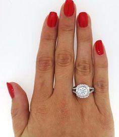 4.3 Round Cut Diamond Engagement Ring Enhanced VS1/F 14K White Gold