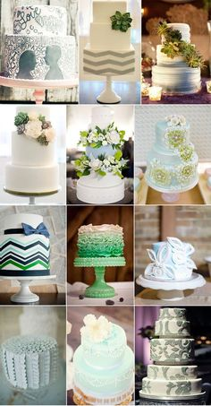 A rainbow of weddings cakes; Blue, green and grey #wedding #weddings #cake #cakes #desserts #blue #green #grey #gray #silver #ombre | http://specialweddingcakeideas.blogspot.com