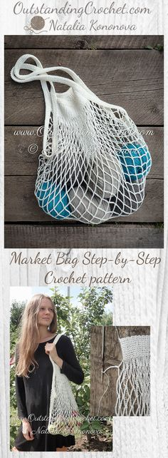 Market bag Step-by-Step Crochet Pattern at www.OutstandingCrochet.com