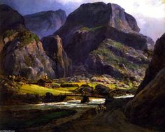 'View of Naerodalen', Oil On Panel by Johan Christian Clausen Dahl (1788-1857…