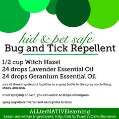 kid and pet safe bug and tick repellent made from essential oils For more info on how to get essential oils and their uses, message me at dorothymiller_teamvitality@yahoo.com.