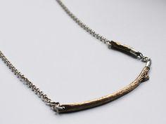 naszyjnik gałązka z brązu i srebra w patchu na DaWanda.com