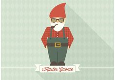 Free Hipster Gnome Vector -   Vector character of a hipster gnome in flat style. Standing on a ribbon banner with space for text.  - https://www.welovesolo.com/free-hipster-gnome-vector/?utm_source=PN&utm_medium=weloveso80%40gmail.com&utm_campaign=SNAP%2Bfrom%2BWeLoveSoLo